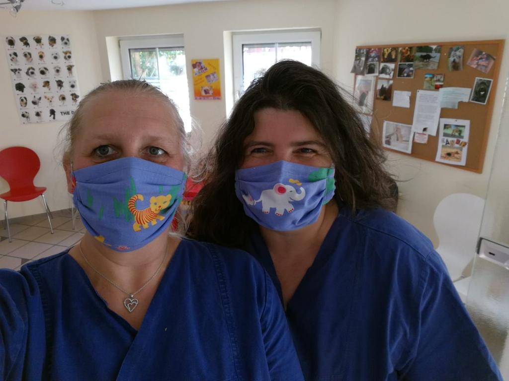 Selbst genähter Mundschutz des Tierarzt-Praxis-Teams Andrea Baier in Adelsdorf/Aisch.