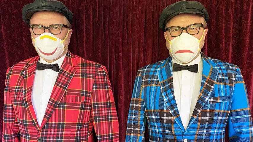 Der doppelte Tissot: Kabarettist Oliver Tissot hat die Maske mit einem Mund verziert. Der kann fröhlich nach oben zeigen oder missmutig nach unten. Je nach Stimmungslage....