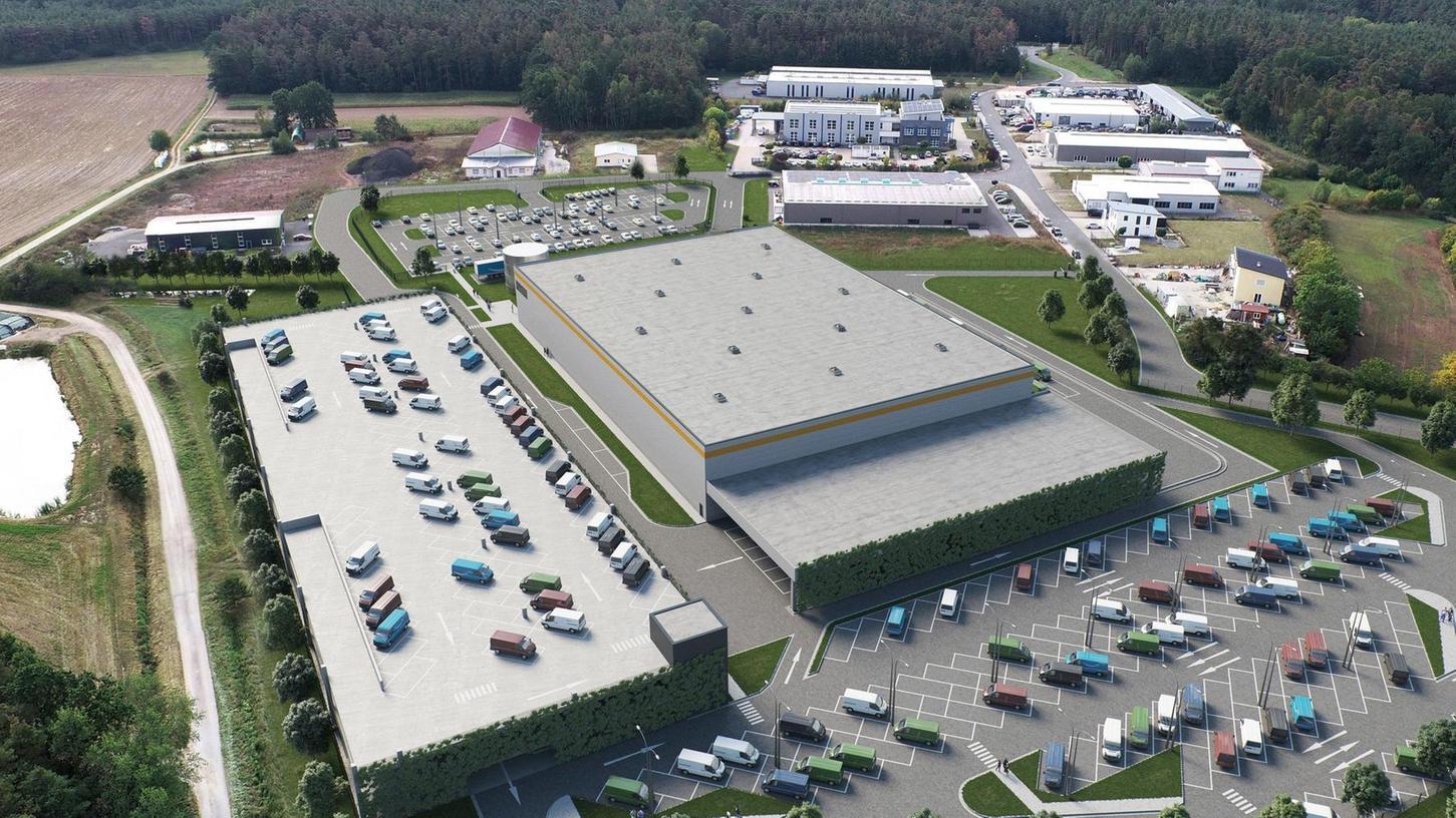 So könnte das neue Amazon-Verteilzentrum im Gewerbegebiet Limbach aussehen.