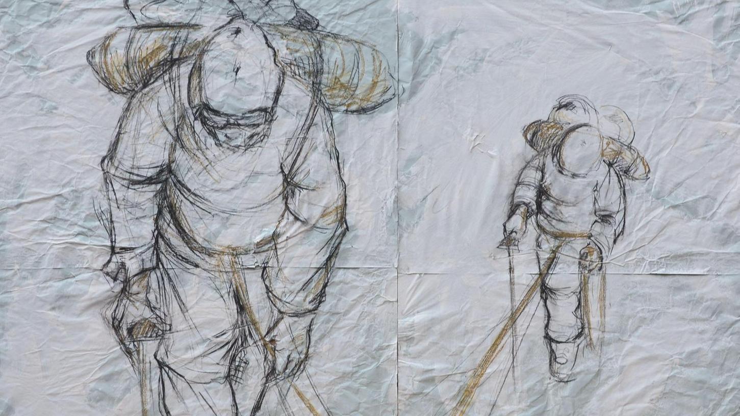 """""""Verbunden"""" ist der Titel dieser Zeichnung von Corinna Smok. Diese und weitere Werke der Fürther Künstlerin sind ab Donnerstag in der Galerie im Bürgerhaus zu sehen."""