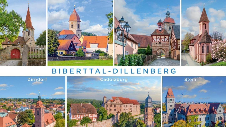 Alle türmen sich auf einer Postkarte: Die Allianz Biberttal-Dillenberg wirbt mit besonderen Bauwerken.