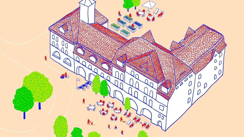 Die Illustration zeigt, wie das Umfeld der alten Feuerwache nach Ansicht der Initiative Fürth.Ort künftig aussehen könnten.
