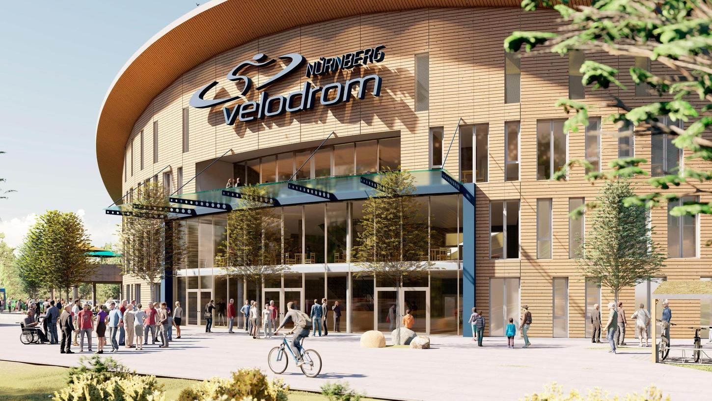 So könnte es einmal aussehen, das Velodrom Nürnberg. Diese Visualisierung zeigt die Außenansicht mit Eingangsbereich.