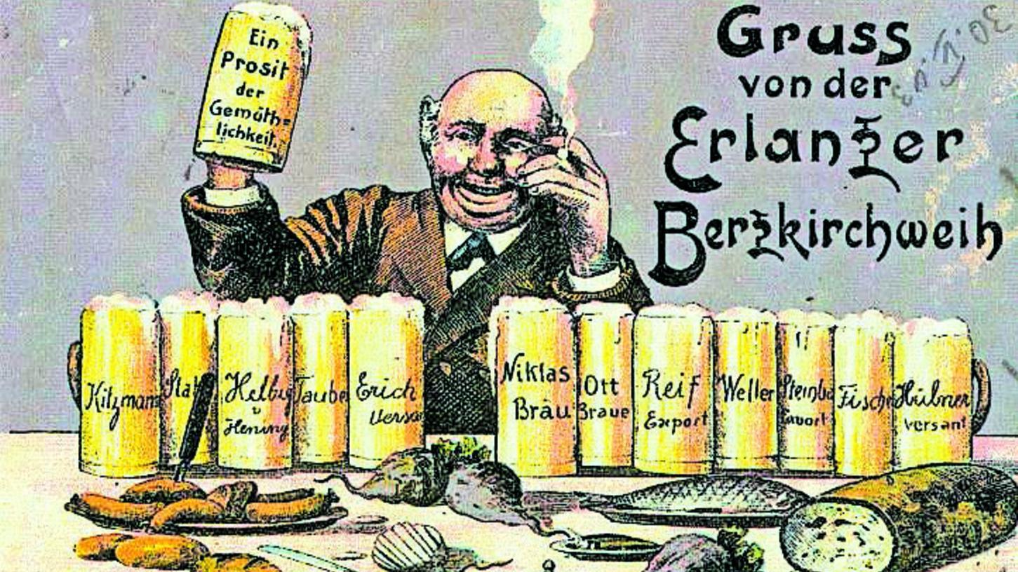 So wurde die Erlanger Bergkirchweih auf einer Postkarte im Jahr 1902 dargestellt.
