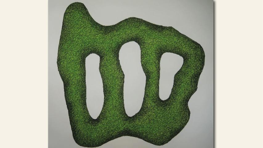 geb. 1965 in Amberg lebt in Lauterhofen Schwerelos grün (2020) 115 x 115 cm Aquarell und Reiskohle erstmals im Wettbewerb vertreten