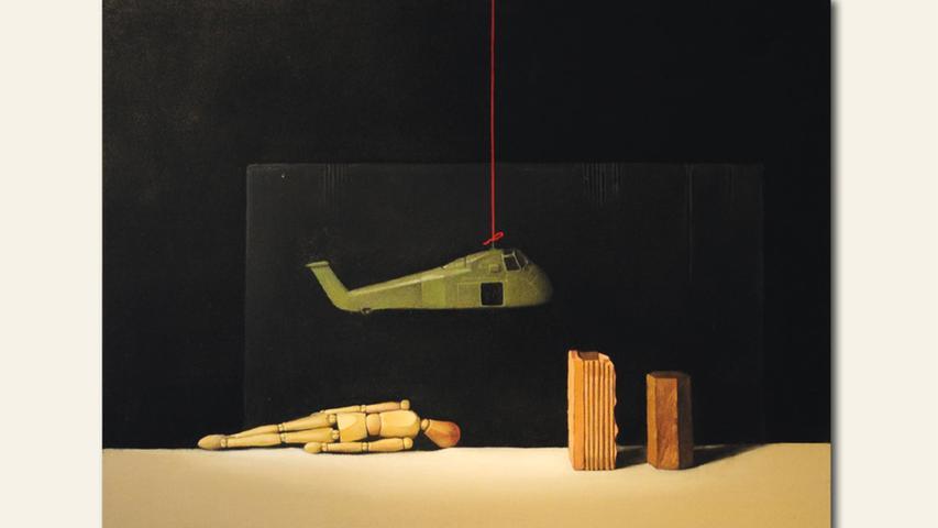 geb. 1941 in Aussig, Tschechien lebt in Schnabelwaid kaputt (2018) 80 x 100 cm Mischtechnik auf Leinwand