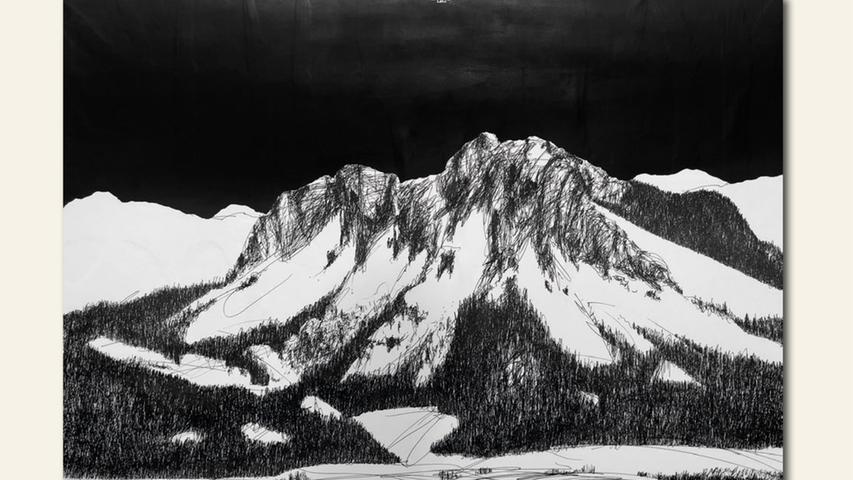 geb. 1958 in Nürnberg lebt in Kalchreuth Berge erinnert-Serie F_X (2020) 70 x 100 cm Zeichnung