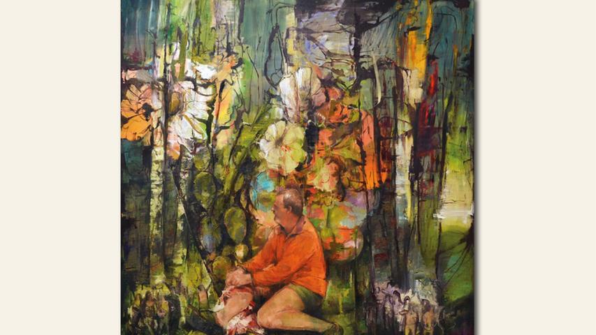 geb. 1981 in Halle/Saale lebt in Nürnberg Kaktusblüte des Bildhauers (2020) 180 x 185 cm Öl auf Leinwand