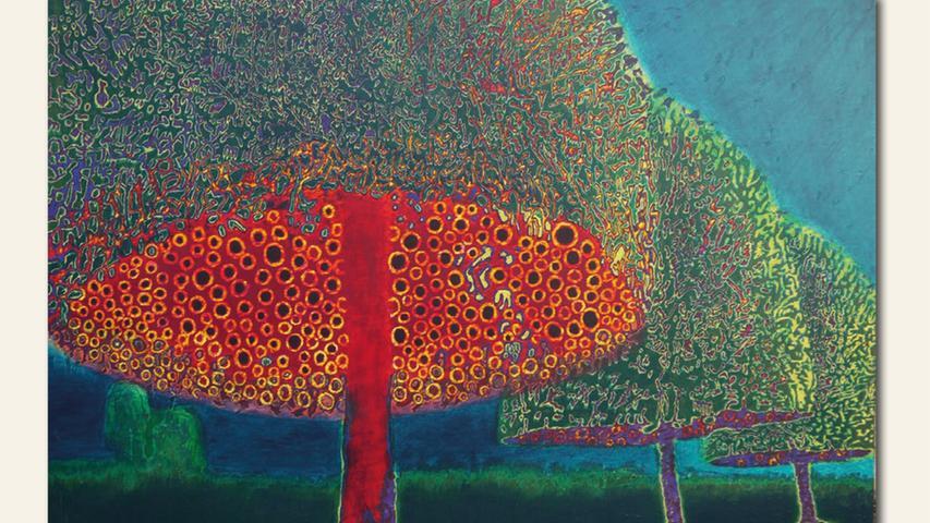 geb. 1953 in Nürnberg lebt in Nürnberg Hauben (2020) 173 x 250 cm Acryl auf Holz geflext