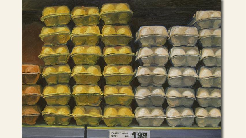 geb. 1968 in Erlangen lebt in Fürth Augen auf beim Eierkauf (2020) 80 x 60 cm Öl auf Leinwand erstmals im Wettbewerb vertreten
