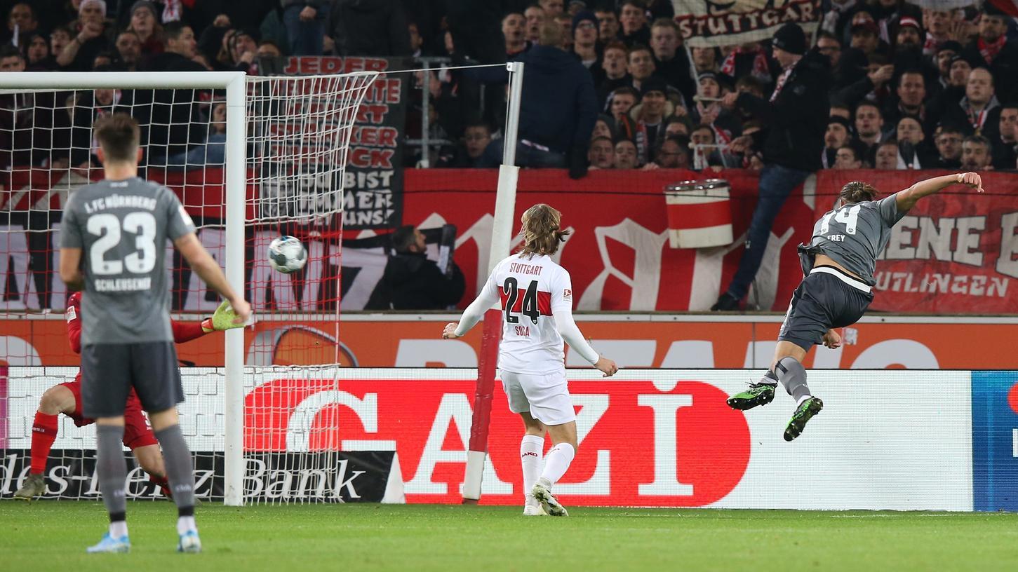 Rumms! Ein Frey-Kracher wie im Hinspiel könnte dem Club helfen, das Match gegen Stuttgart auf eigenem Platz erfolgreicher zu gestalten.