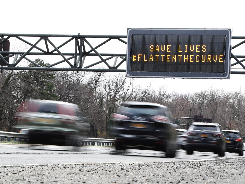 WANTAGH, NEW YORK - MARCH 19: A digital sign is shown on the Wantagh Parkway that reads