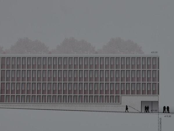 Ein hochfunktionales Gebäude, aber nicht für diesen Platz in Gunzenhausen: So urteilte die Jury über diesen Entwurf des Eichstätter Büros Diezinger Architekten GmbH (Ansicht von der Bahnhofstraße).