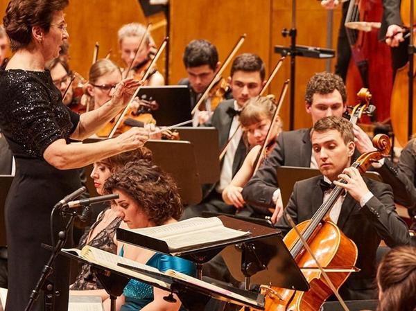 Daniel Götte (rechts) als Stimmführer spielt ein Cello von Alfred Binner bei einem Konzert des Uniorchesters Stuttgart.