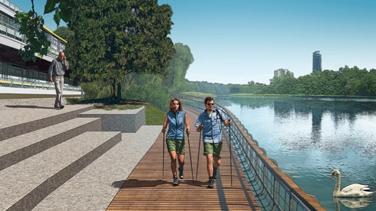 Durch eine Vorschüttung am Ufer in Kombination mit einer Stegkonstruktion soll ein neuer Gehweg unmittelbar am Wasser entstehen. Foto: Wasserwirtschaftsamt