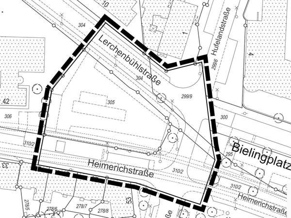 """Dieses Gebiet für den """"Bielingplatz West"""" soll neu bebaut werden."""