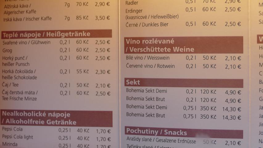 Gesehen von Fritz Nixel aus Schnelldorf in einem Restaurant im tschechischen Marienbad.
