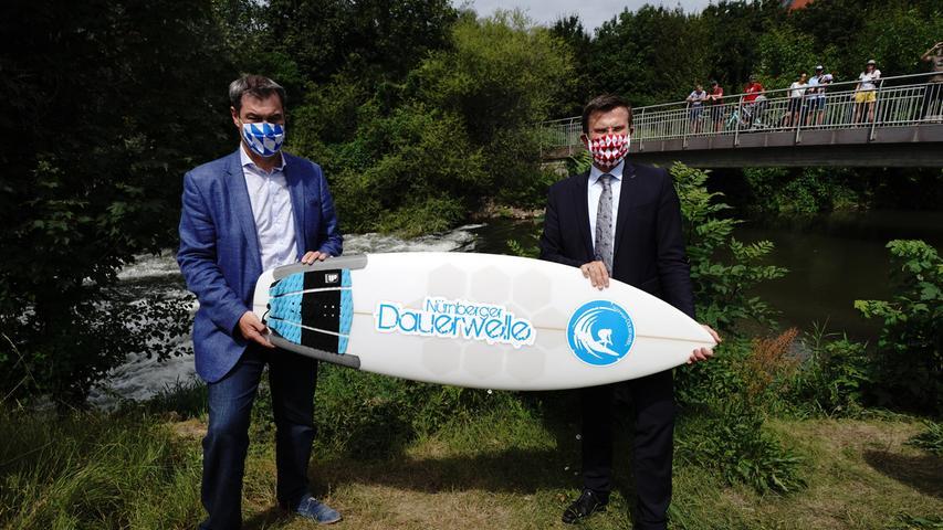 Nürnbergs neue Surferwelle: Söder kam zum Spatenstich