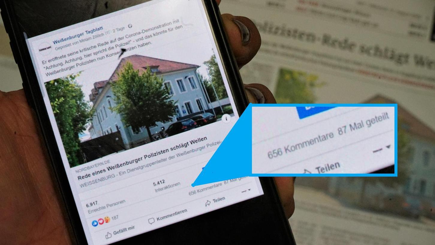 Gesteuerte Kampagne: Über 600 Facebook-Nutzer zeigten sich solidarisch mit dem Weißenburger Polizisten, der bei einer Kundgebung die Corona-Maßnahmen kritisierte. Doch Recherchen zeigen, dass es sich um eine gezielte Aktion handelte, um die Meinungen ins Ungleichgewicht zu bringen.