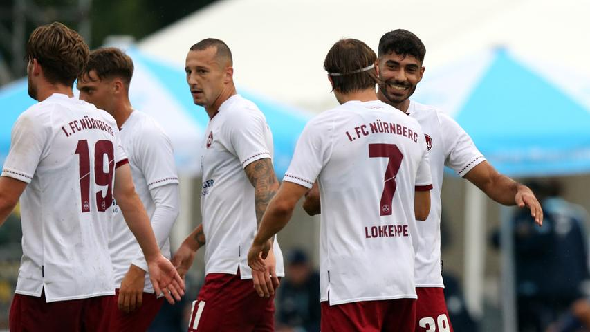 22.08.2020 --- Fussball --- Saison 2020 2021 --- Testspiel / Freundschaftsspie / Vorbereitungsspiel: TSG 1899 Hoffenheim - 1. FC Nürnberg ( Club ) --- Foto: 1. FC Nuernberg/Daniel Marr/  ---   Jubel nach Tor zum 2:5 - Ekin Celebi (39, 1. FC Nürnberg / FCN ) Felix Lohkemper (7, 1. FC Nürnberg / FCN ) und Mannschaft / Team