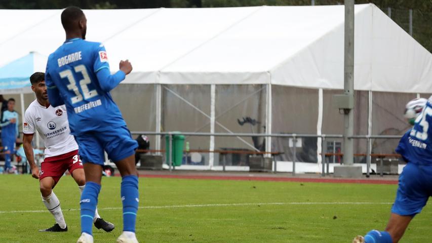 22.08.2020 --- Fussball --- Saison 2020 2021 --- Testspiel / Freundschaftsspie / Vorbereitungsspiel: TSG 1899 Hoffenheim - 1. FC Nürnberg ( Club ) --- Foto: 1. FC Nuernberg/Daniel Marr/  ---   Tor zum 2:5 - Ekin Celebi (39, 1. FC Nürnberg / FCN )