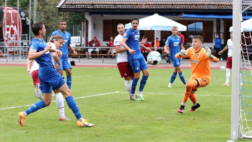 22.08.2020 --- Fussball --- Saison 2020 2021 --- Testspiel / Freundschaftsspie / Vorbereitungsspiel: TSG 1899 Hoffenheim - 1. FC Nürnberg ( Club ) --- Foto: 1. FC Nuernberg/Daniel Marr/  ---   Tor zum 1:2 - Felix Lohkemper (7, 1. FC Nürnberg / FCN )