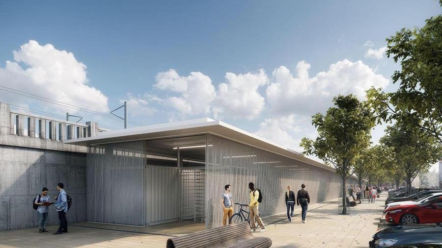 Die Außenansicht des Fahrradparkhauses in einer Visualisierung. Das Gebäude grenzt direkt an die Südseite des Hauptbahnhofs