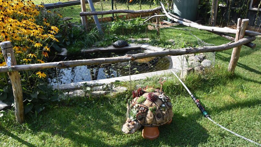 Sogar die Gartendekoration steht hier im Zeichen der Schildkröte. Im Teich dahinter sind - natürlich - Wasserschildkröten.