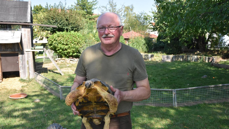 Hier fühlt er sich am wohlsten: Heidecks ehemaliger Bürgermeister in seinem Garten mitten im Kreise seiner Panzertiere. Manche Schildkröten begleiten ihn schon Jahrzehnte lang.