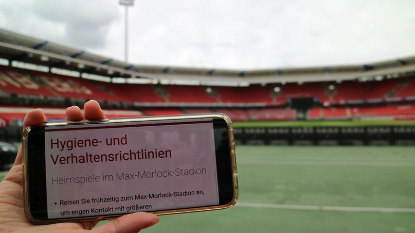 Stadion; Corona; Hygiene; Der Club bereitet das Max-Morlock-Stadion auf das  erste Heimspiel vor. Foto: Timo Schickler; Datum: 25. September 2020; Ort:  Max-Morlock-Stadion