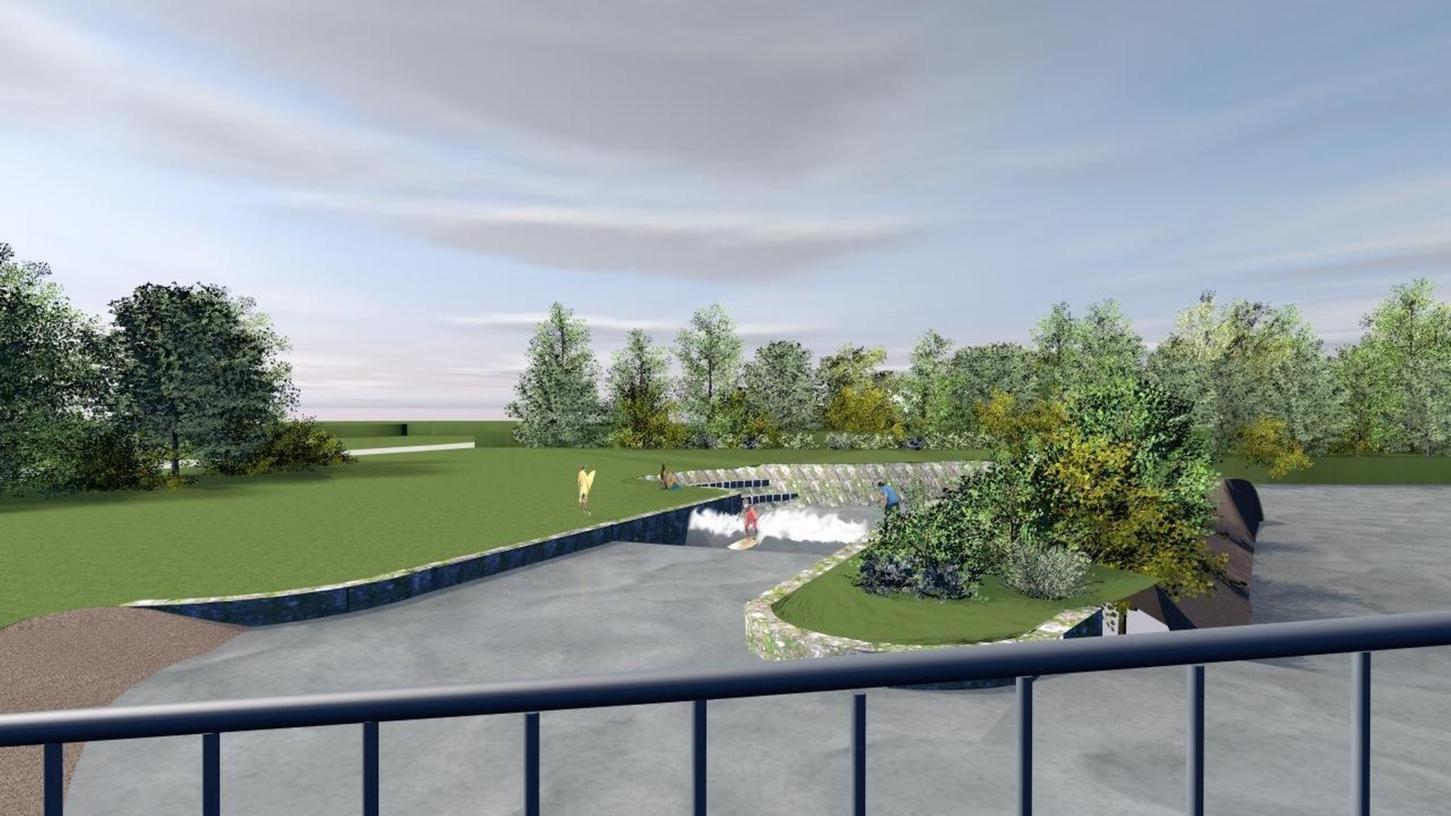Diese Visualisierung zeigt, wie die Surfer-Welle links neben dem Pegnitzarm einmal aussehen soll. Das Umfeld der Anlage wird wieder begrünt und renaturiert.