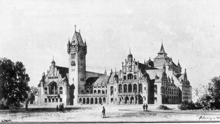 Der ursprüngliche Entwurf von Architekt Heinrich Seeling wurde nicht realisiert. Er zitiert die mittelalterliche Architektur der Altstadt.Dabei wollte sich Nürnberg mit seinem neuen Prachtbau auch als moderne Industriestadt präsentieren. Denn der Bau veränderte die Stadt grundlegend: Das städtische Krankenhaus, das zuvor an dieser Stelle stand, wurde abgerissen, Nürnberg baute nordwestlich der Altstadt eine moderne Krankenhausanlage, das heutige Nordklinikum.