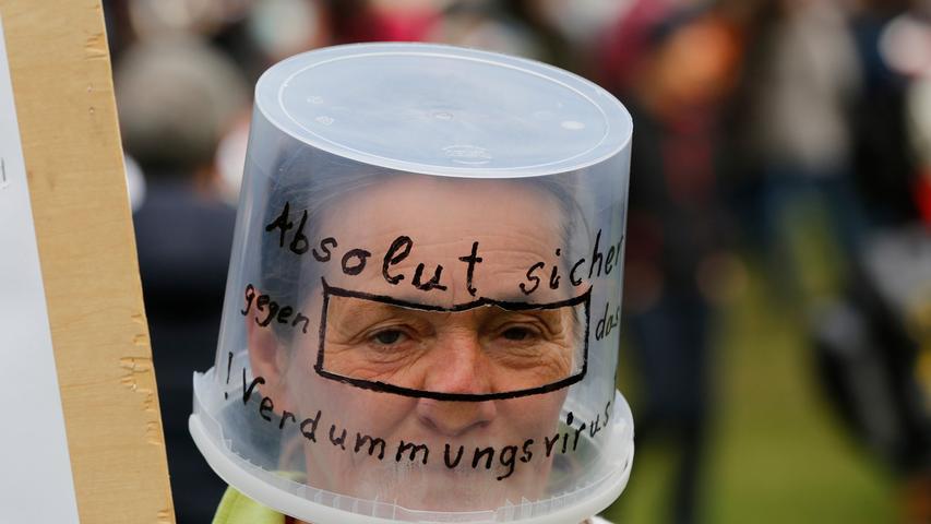 Eine Demonstrantin Mitte Oktober in Nürnberg.