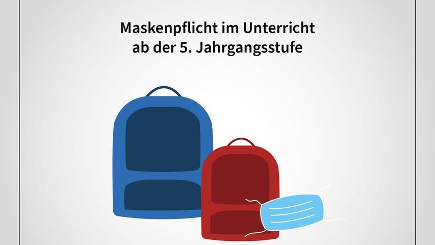 Die Maskenpflicht gilt nach Worten Söders bei Überschreiten des 35er-Werts ab der fünften Klasse für Schüler im Unterricht - bei Überschreiten des 50er-Wertes auch an Grundschulen.