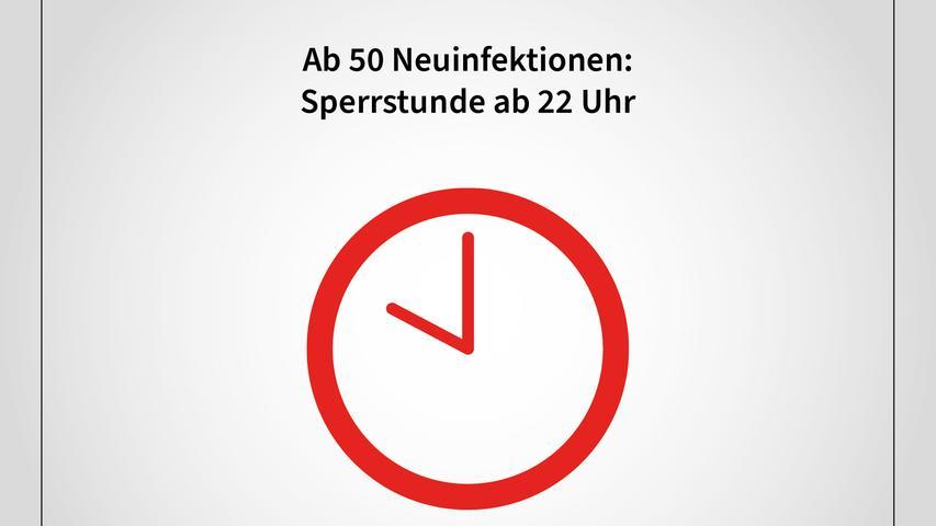 Bei einer Sieben-Tages-Inzidenz von mehr als 50 gelten die Sperrstunde und die beiden anderen Verbote schon ab 22.00 Uhr.