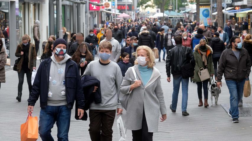Maskenpflicht in der Nürnberger Innenstadt