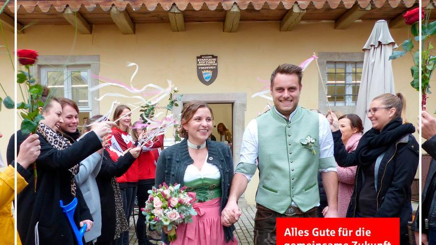 """Als sich Stefanie Grad aus Möning und Max Löw aus dem Allersberger Ortsteil Polsdorf vor sechs Jahren beim Freystädter Volksfest kennengelernt haben, wussten sie noch nicht, dass dieses Treffen der Auftakt für ein gemeinsames Leben sein wird. Aus Sympathie wurde Liebe, die beide nun mit dem Eheversprechen im Trauungslokal, dem Künstlertreff im Freystädter Spital, besiegelt haben. Freystadts dritter Bürgermeister Matthias Penkala, der die Brautleute getraut hat, hatte ebenfalls Premiere mit dieser ersten Trauung als Standesbeamter. Im Anschluss grüßten die Mädels der Tanzgruppe """"Happy Shakers"""", die Fußballer der DJK Göggelsbuch und zahlreiche Freunde des Paares mit einem Spalier, überreichten Blumen und Präsente zu den guten Wünschen. Die 29-jährige zahnmedizinische Fachangestellte und der gleichaltrige Maschinenbautechniker wohnen im Elternhaus der Braut und sind derzeit schwer beschäftigt mit dem Bau ihres neuen Hauses in Möning. as"""
