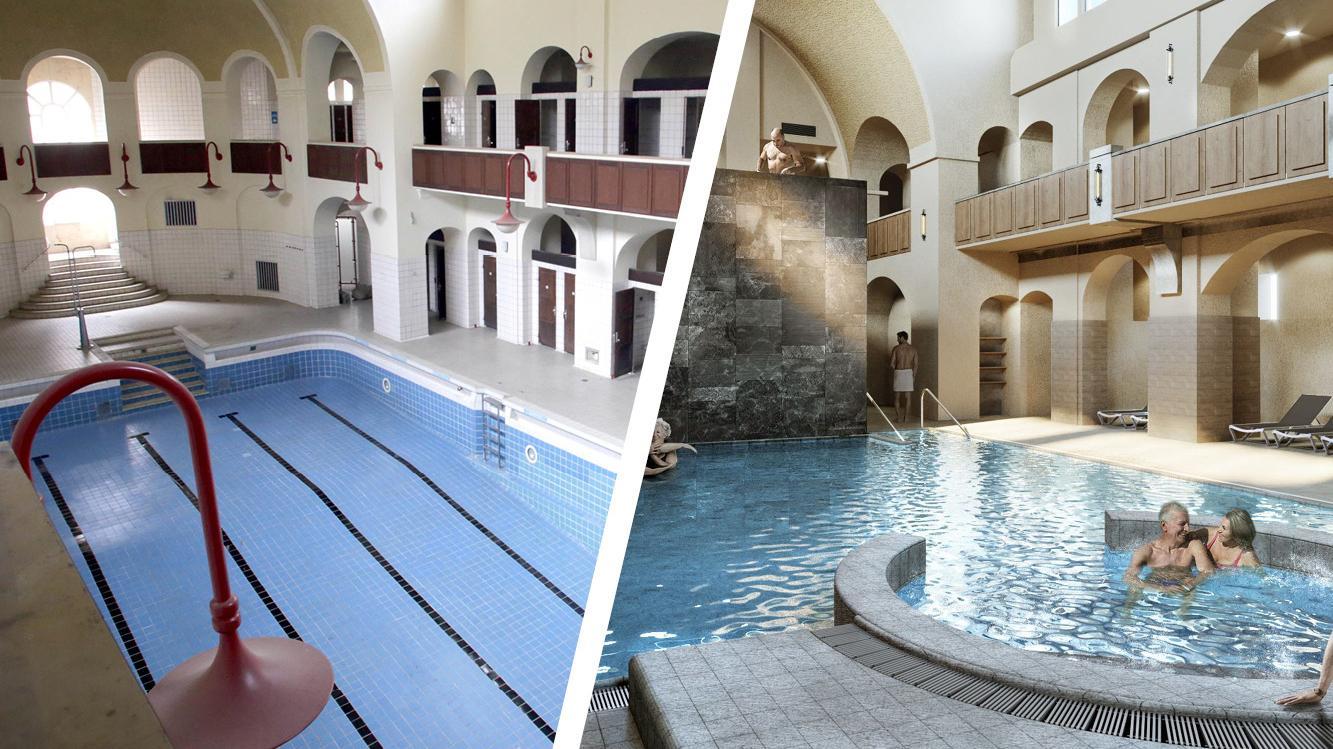 Die herausragende Architektur soll erhalten bleiben, Wellness und Sport zieht künftig in die Hallen ein.