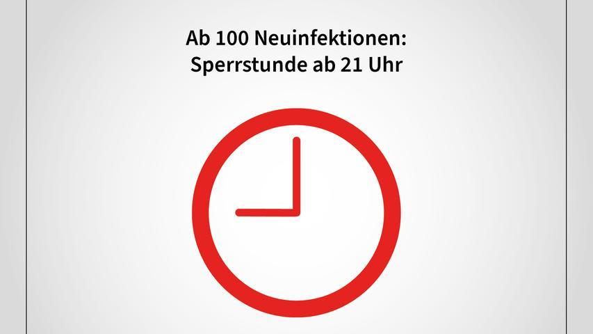 Die Sperrstunde ab 21.00 Uhr soll dann greifen, wenn die Zahl von 100 Neuinfektionen pro 100.000 Einwohner binnen sieben Tagen überschritten wird.