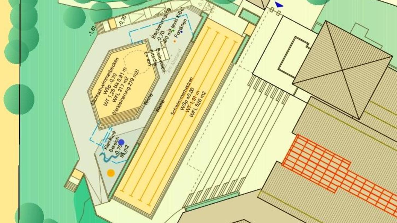 Neben dem verkleinerten Nichtschwimmerbecken (sechseckig) könnten ein Kleinkinderbereich (blauer Punkt) und ein Wasserspielplatz im Freibad der Treuchtlinger Altmühltherme entstehen. Die Liegewiese nördlich der Bürgermeister-Döbler-Allee könnte Parkplätzen weichen.