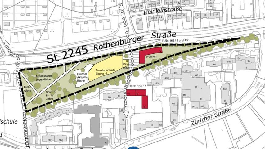 Hier ist Platz für das neue Kinder- und Jugendhaus samt Halle und Sportflächen. Grafik: Stadt Nürnberg