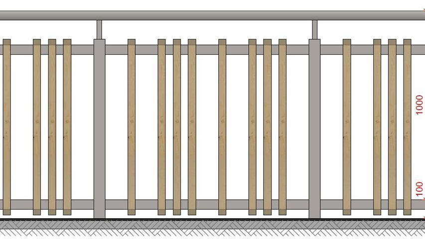 Stahltragkonstruktion mit senkrechten Holzlatten: Für diese Variante der künftigen Kellerwald-Geländer haben sich die meisten Räte ausgesprochen.