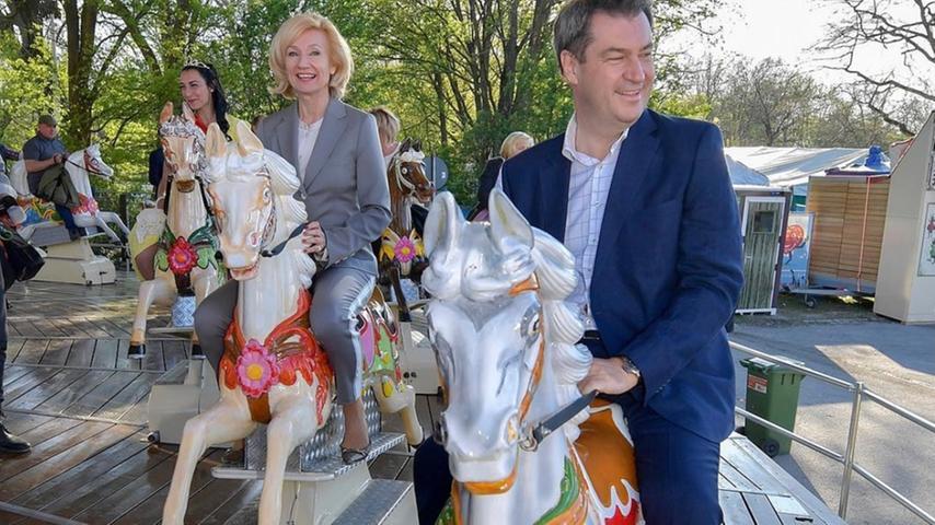Markus Söder mit Julia Lehner auf dem Nürnberger Frühlingsfest 2019.