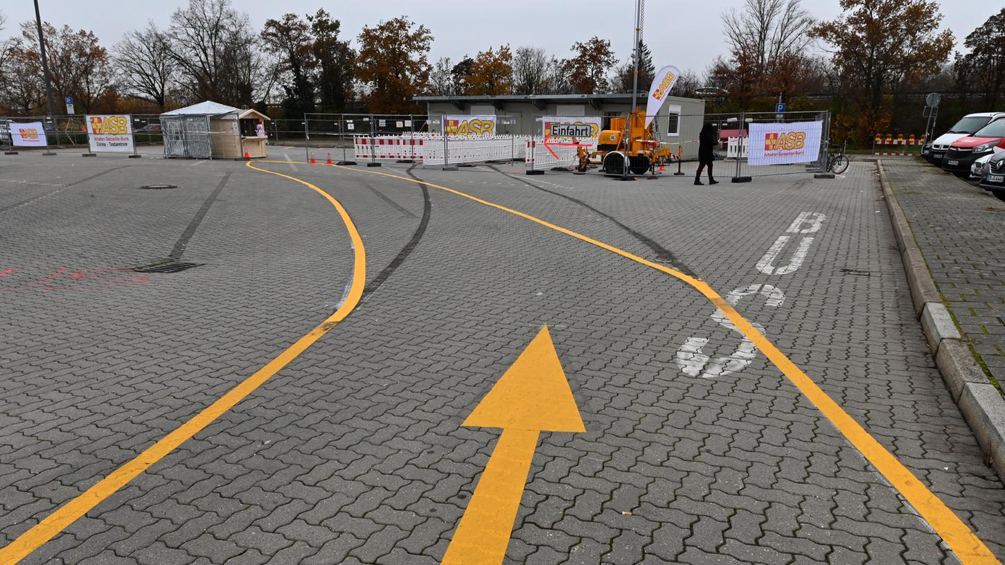 Das Testzentrum am Großparkplatz in Erlangen