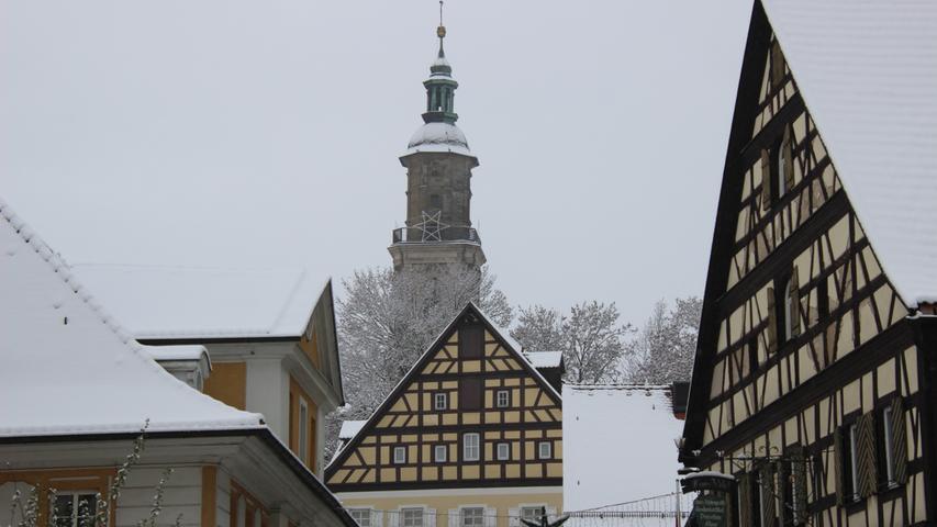 Die Bad Windsheimer Altstadt mit weißem Zuckerguss.