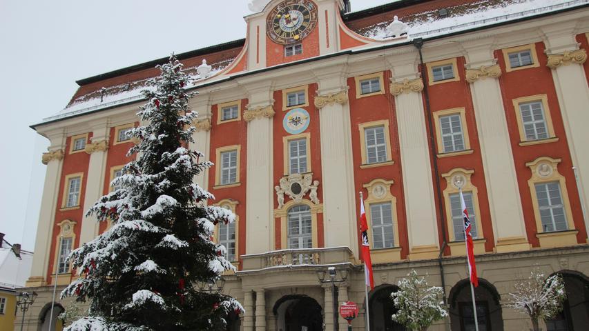 Das Rathaus und davor der Christbaum.