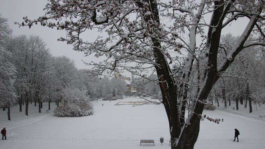 Der Kurpark liegt unter einer weißen Decke.