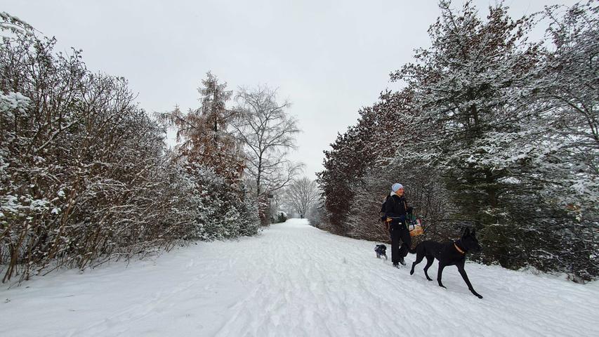 Erster Schnee in Fürth, hier bei Unterfarrnbach