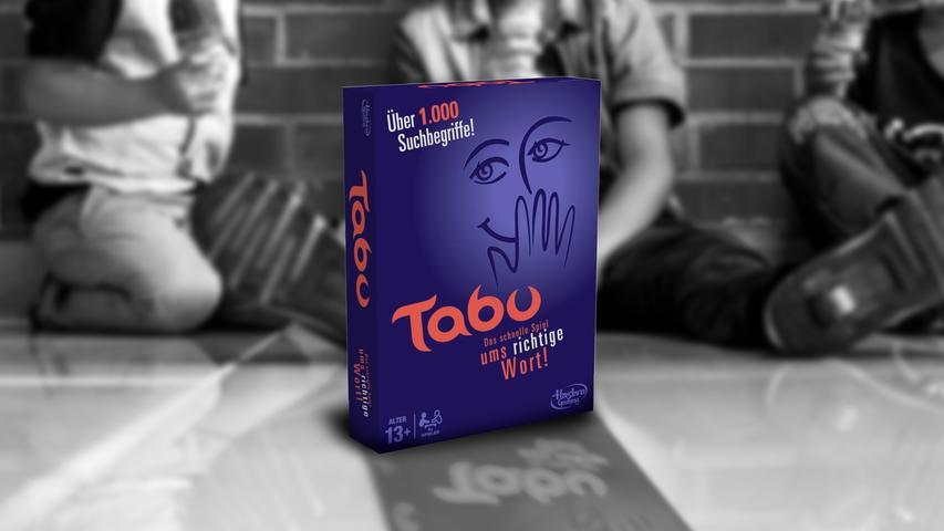 Das schnelle Spiel um dasrichtige Wort! Tabu ist der Klassiker für jedePartyspielrunde und gehört zu den Bestsellern in Deutschland. Fantasie und Sprachwitz sind gefragt, wenn Begriffe erklärt werden müssen, ohne die Tabu-Wörter auf der Spielkarte zu verwenden.  Autor: Brian Hersch, Verlag: Hasbro Gaming, Spieleranzahl: 4 oder mehr Spieler, Altersempfehlung: ab 13, Spieldauer: ca. 40 Minuten