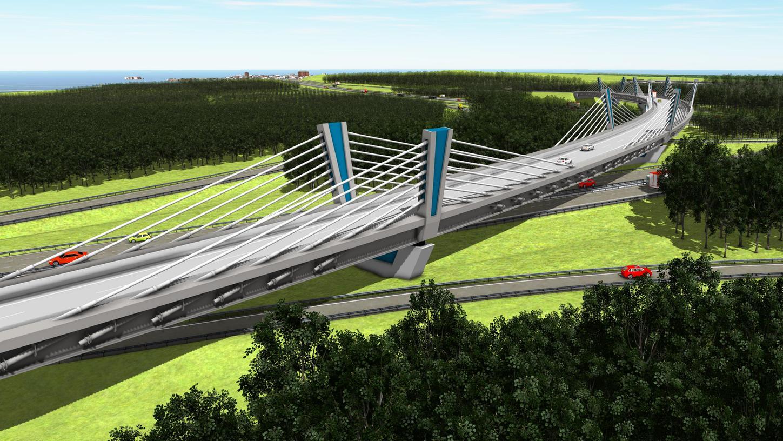 Mit diesem Overfly, einer 586 Meter langen Seilbrücke mit fünf Pfeilern, wird künftig der Verkehr von der A6 aus Richtung Heilbronn auf die A9 in Richtung Berlin geführt.